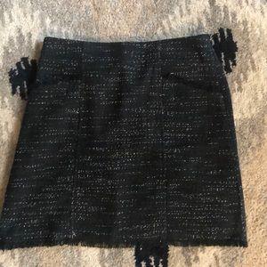 Tweed LOFT skirt with fringe hem